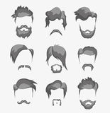 Mustache, beard and hairstyle hipster Royalty Free Stock Photos