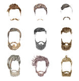 Mustache and beard Set on white background