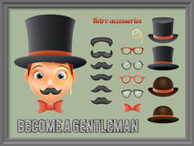 Mustache Bow Glasses Top Hat Gentleman Victorian Business Cartoon Icons Set English 3d  Background Retro Vintage Stock Photos