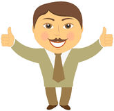 Mustache businessman showing two thumb up Stock Photography