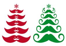 Mustache Christmas tree, vector Royalty Free Stock Photos