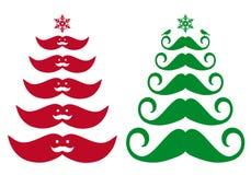 Mustache Christmas tree, vector. Design elements Royalty Free Stock Photos