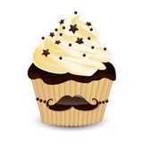 Mustache cupcake Royalty Free Stock Photography