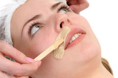 Mustache depilation. Beauty salon, mustache depilation, facial skin treatment and care Royalty Free Stock Images