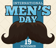 Mustache Design with Greeting Message to Celebrate International Men`s Day. Postcard with dark mustache over a beige background and blue ribbon with greeting vector illustration