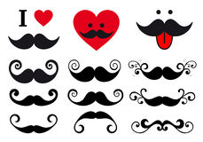 Mustache design set, vector Stock Image