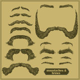 Mustache and  eyebrows. Set of various shapes beard, mustache, eyebrows, freehand drawing Stock Photo