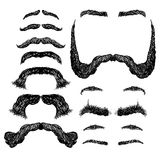 Mustache and  eyebrows. Set of various shapes beard, mustache, eyebrows, freehand drawing Royalty Free Stock Images