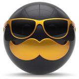 Mustache face cartoon emoticon ball handsome person black Royalty Free Stock Images