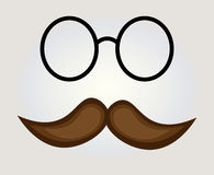 Mustache with glass. On white background vector illustration