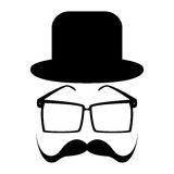 Mustache, glasses and a hat Stock Image