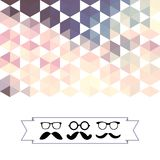 Mustache with glasses and hexagons triangles Stock Photography