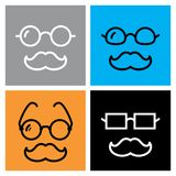Mustache and glasses icon. Old man with mustache and glasses icon. Granddad or grandfather symbol. Oculist  illustration Stock Photos