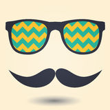 Mustache and glasses icon Royalty Free Stock Images
