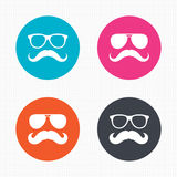 Mustache and Glasses icons. Hipster symbols Royalty Free Stock Photo