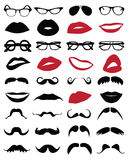Mustache, glasses and lips Royalty Free Stock Photography