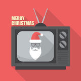 Mustache and Glasses of Santa in Retro Television Stock Images