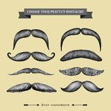 Mustache hand drawn collection on the beige backgr Royalty Free Stock Image