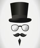 Mustache hat glasses Royalty Free Stock Photos