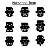 Mustache icons set in flat style vector illustration