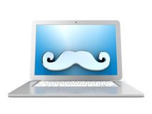 Mustache on laptop. Front view. 3D render. Illustration isolated on white background Royalty Free Stock Photography