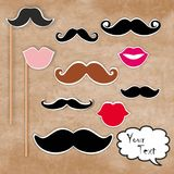 Mustache and lips. Red background stock illustration