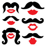 Mustache and lips Stock Images