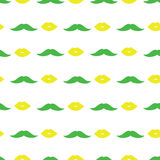 Mustache and lips in light green and yellow shades stock illustration