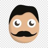 Mustache man face icon, cartoon style royalty free illustration