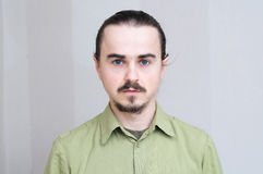 Mustache man portrait, handsome young men full face,bearded and serious stock images