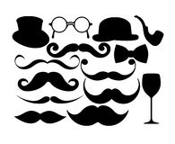 Mustache Mania. Fun and whimsical set of mustaches, hats, and more Stock Image