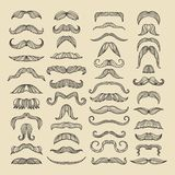 Mustache of men. Hand drawn pictures with funny hairstyle Royalty Free Stock Photography