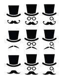 Mustache or moustache with hat and glasses icons set Stock Images