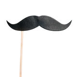 Mustache paper on a stick isolated on white. Background Royalty Free Stock Photography