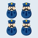 Mustache police guy avatar portrait picture icon Stock Images