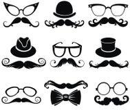 Mustache.Retro party set.Gentleman's hats Stock Image