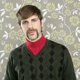 Mustache retro salesman geek portrait Stock Photos