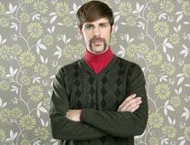 Mustache retro salesman geek portrait Royalty Free Stock Photos