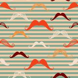 Mustache seamless pattern in vintage style. Pattern or texture with curly retro gentleman mustaches on striped background. Stock Images
