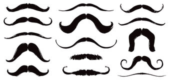 Mustache Set. A set of black mustache illustrations for overlay on faces Stock Photo