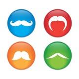 mustache Singola icona piana sul cerchio Illustrazione di vettore Fotografia Stock Libera da Diritti