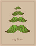 Mustache  tree christmas card, hipster style, Royalty Free Stock Images