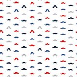Mustache Vector Seamless Pattern. November Holiday Wrapping. Moustaches Seamless Patterns for November Holiday Wrapping Paper. Vector Red, Blue and Grey