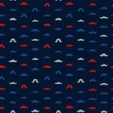 Mustache Vector Seamless Pattern. November Holiday Wrapping. Mustaches Seamless Patterns for November Holiday Wrapping Paper. Vector Red, Blue and Grey