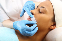 Mustache Wax depilation, beauty salon Stock Image