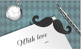 Mustache and the words with love Stock Photography