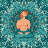 Mustached bearded man in the lotus position on the mat for yoga Stock Photo