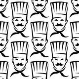 Mustached chefs in professional uniform seamless Royalty Free Stock Image