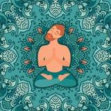 Mustached skäggig man i lotusblommapositionen på det mattt för yoga Arkivfoto