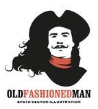 Mustached und langes Haar des Mannes zum Wind, einen alten Hut von dem achtzehnten oder 19. Jahrhundert tragend stock abbildung